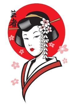 Beautiful geisha of japan
