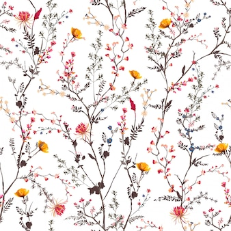 Beautiful gentle botanical flowers blooming garden mood seamless pattern