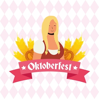 아름 다운 독일 금발 여자 아바타 캐릭터 벡터 일러스트 디자인