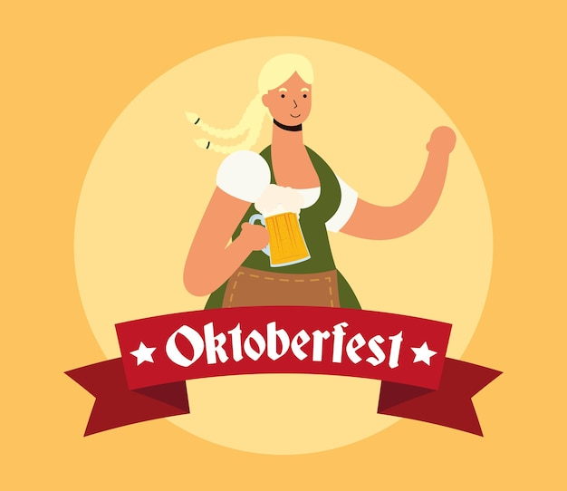 맥주 문자 벡터 일러스트 디자인을 마시는 아름 다운 독일 금발 여자
