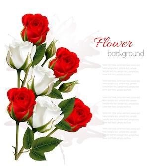 カラフルなバラの美しいゲットカード。ベクター