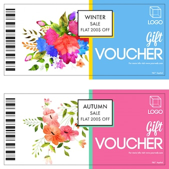 Beautiful gift vouchers design, decorated with watercolor florals. Premium Vector
