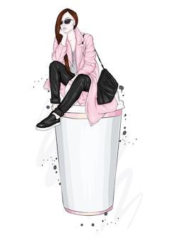 美しい少女と一杯のコーヒー