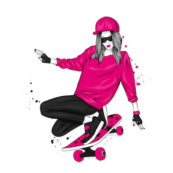 아름다운 소녀와 스케이트 보드 그림