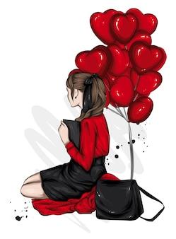 Beautiful girl and balloons hearts