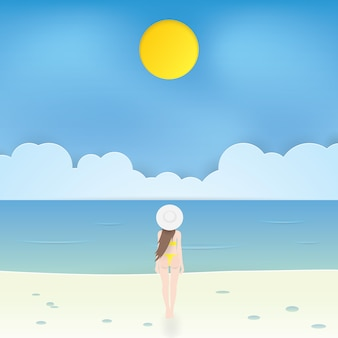 Beautiful girl in bikini walking on the beach, craft vector