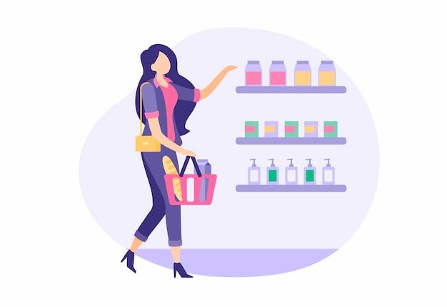 가게에서 사는 아름다운 소녀. 바구니가 달린 세련된 양복을 입은 여성이 식료품 슈퍼마켓을 선택하고 구입합니다. 캐주얼 소매 쇼핑몰. 주스와 향수가 있는 선반. 벡터 만화 일러스트 레이 션