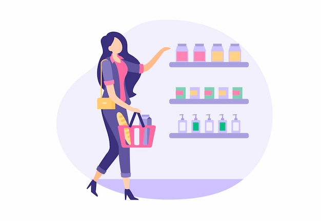 Beautiful girl buying in store. woman in stylish suit with basket chooses and buys groceries supermarket. casual retail shopping mall. shelves with juices and perfumes. vector cartoon illustration