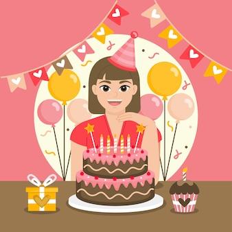 Beautiful girl celebrating her birthday free vector