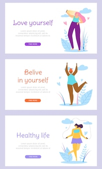 Beautiful girl characters healthy active lifestyle