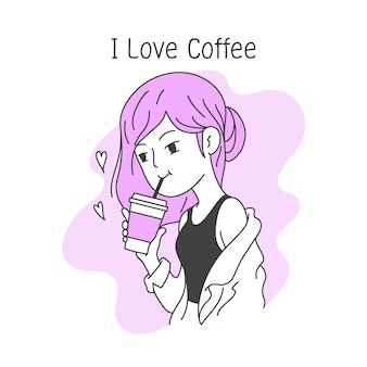 Beautiful girl drinks coffee in a cup , simple and clean doodle vector illustration
