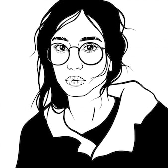 Beautiful girl hair vector illustration glasses