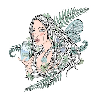 Beautiful girl holding a bottle of cosmetics. leaves of plants in her hair - a symbol of natural organic cosmetics. vector illustration, isolated