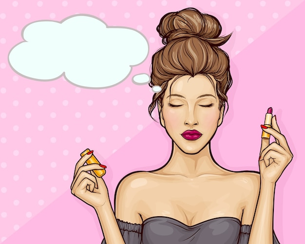ポップなアートスタイルで口紅を保持している美しい少女