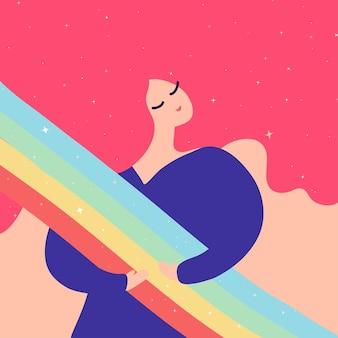 Красивая девушка обнимает радугу и звезды на розовом фоне