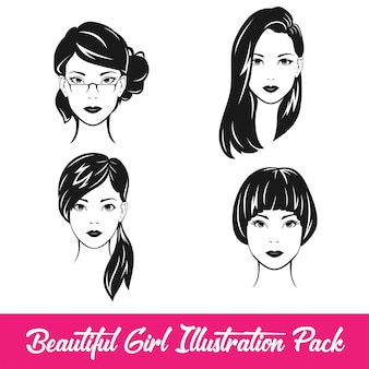 Beautiful girl illustration pack