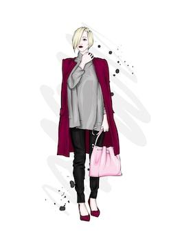 コートを着た美しい少女