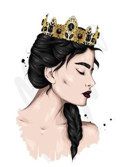 王冠の美しい少女