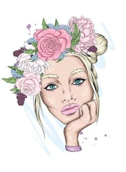 꽃 화 환에서 아름 다운 소녀