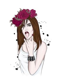 Красивая девушка в цветочном венке
