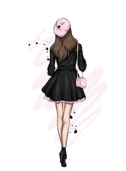 スタイリッシュなコートとベレー帽の美しい少女