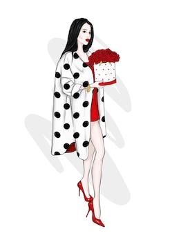 세련된 코트와 장미 꽃다발 아름다운 소녀