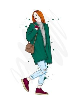 スタイリッシュなコートを着た美少女。