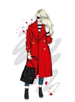 スタイリッシュなコートを着た美しい少女