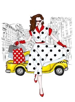 세련 된 드레스와 택시에서 아름 다운 소녀