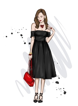 세련 된 드레스에서 아름 다운 여자