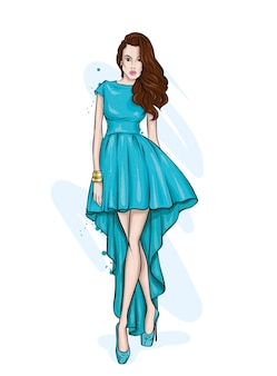 スタイリッシュなイブニングドレスの美しい少女