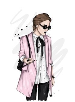 スタイリッシュなジャケットの美しい少女