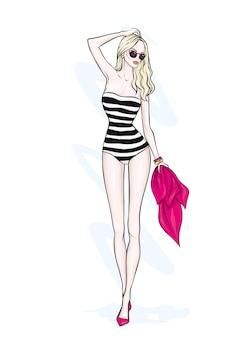 세련 된 수영복에 아름 다운 여자