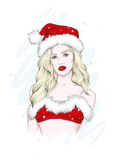 水着とサンタクロースの帽子の美しい少女。クリスマス。