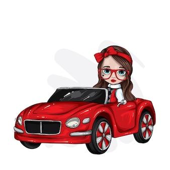 Красивая девушка в старинном автомобиле.