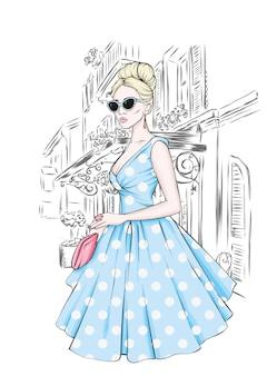 빈티지 드레스와 안경에 아름 다운 여자