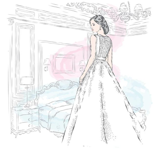 ウェディングドレスの花嫁の美しい少女