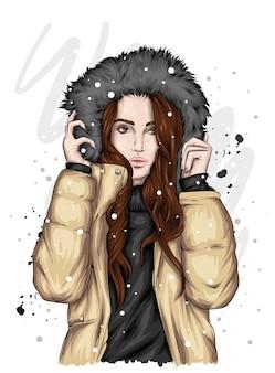 모피와 겨울 자 켓에서 아름 다운 소녀입니다.