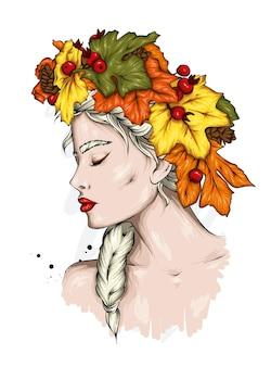 紅葉の花輪の美しい少女