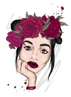 꽃의 화 환에서 아름 다운 소녀