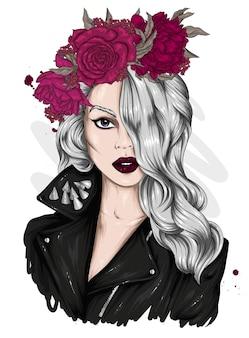 花輪の美しい少女