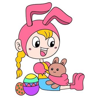 Красивая девушка в костюме кролика встречает пасху с яйцами. искусство иллюстрации, каракули изображение значка каваи.
