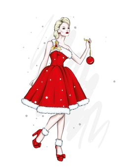 이브닝 드레스에 아름 다운 여자입니다. 새해와 크리스마스.