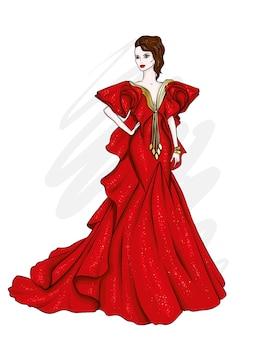 イブニングドレスの美しい少女