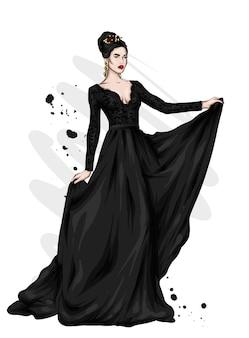 이브닝 드레스에 아름 다운 여자