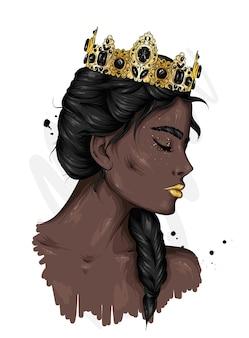 황금 왕관에 아름 다운 여자