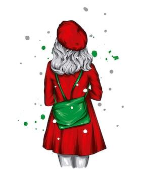 スタイリッシュなクリスマスの服とサンタクロースの新年の帽子の美しい少女