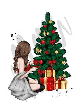 スタイリッシュな服とクリスマスツリーの美しい少女