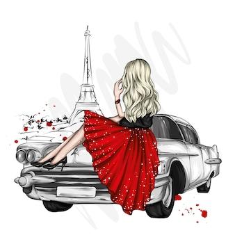スタイリッシュな服とヴィンテージカーの美しい少女