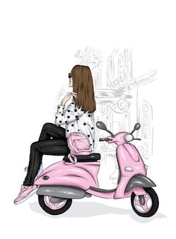 세련된 옷과 빈티지 오토바이에 아름다운 소녀